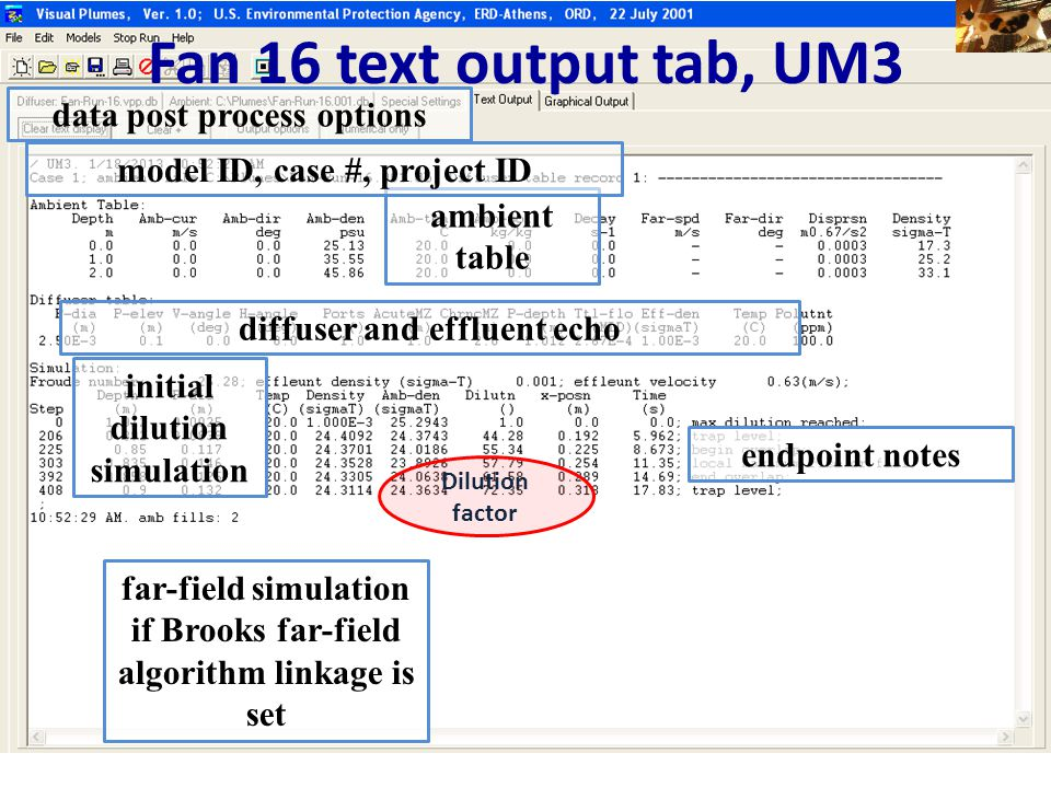 Fan 16 text output tab, UM3 data post process options