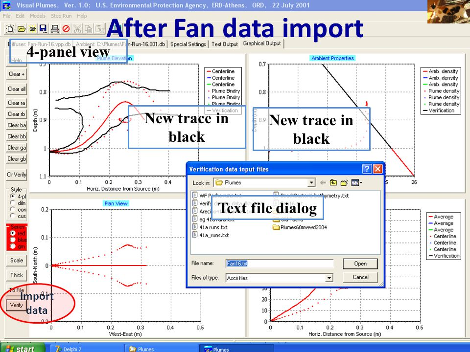 After Fan data import 4-panel view New trace in black