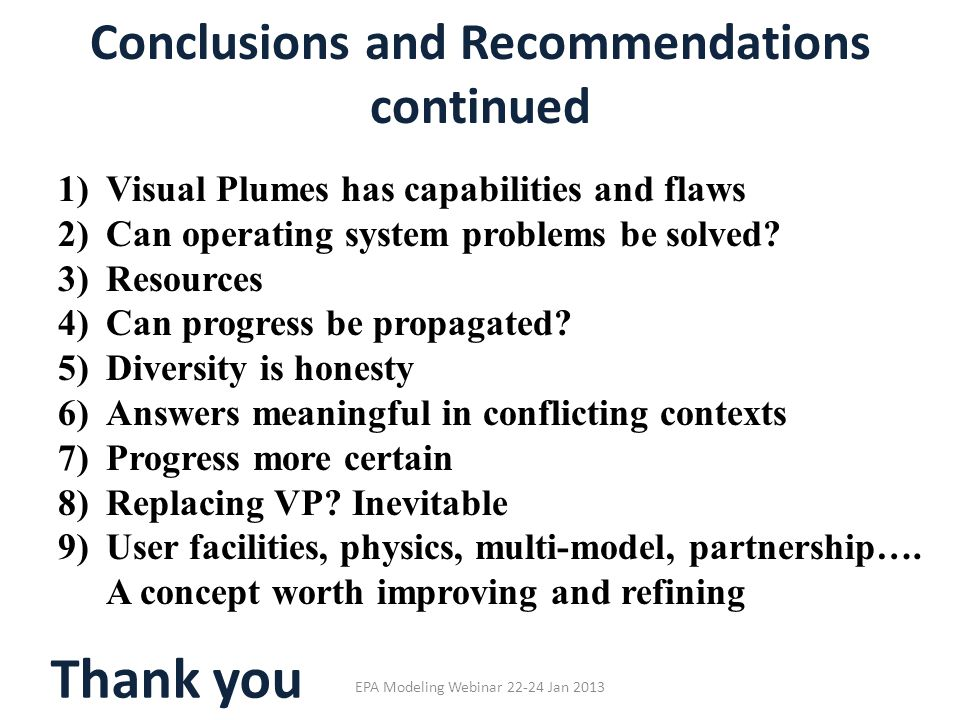 Conclusions and Recommendations continued