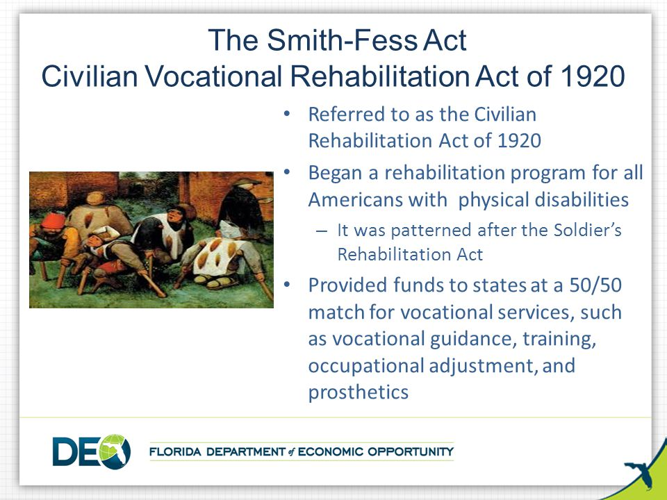The Smith-Fess Act Civilian Vocational Rehabilitation Act of 1920