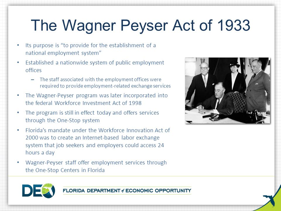 The Wagner Peyser Act of 1933