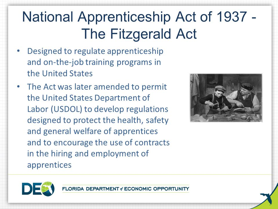 National Apprenticeship Act of 1937 - The Fitzgerald Act