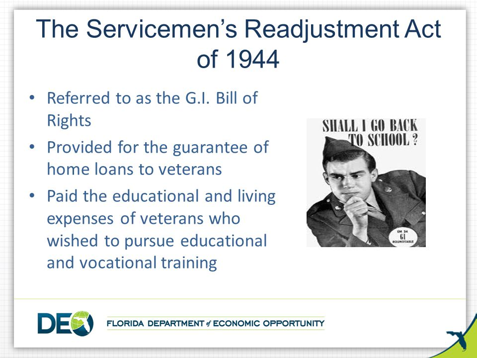 The Servicemen's Readjustment Act of 1944