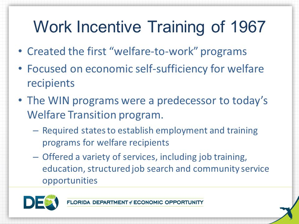 Work Incentive Training of 1967