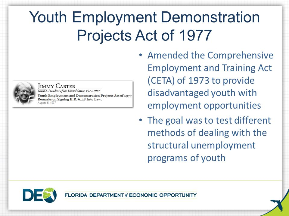 Youth Employment Demonstration Projects Act of 1977