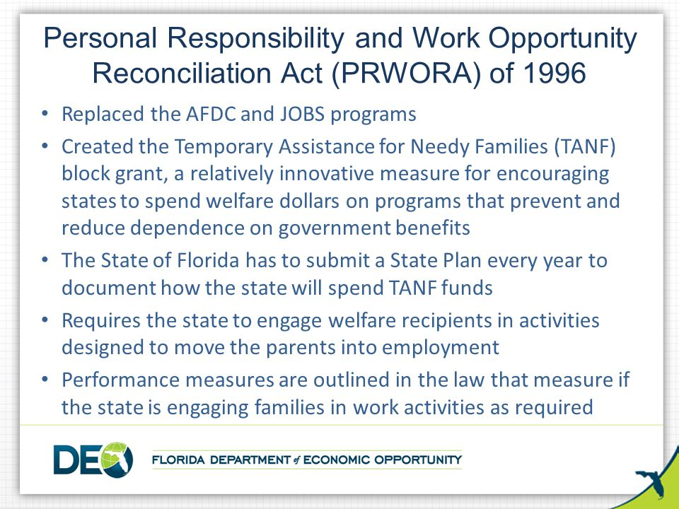 An introduction to the work opportunity reconciliation act