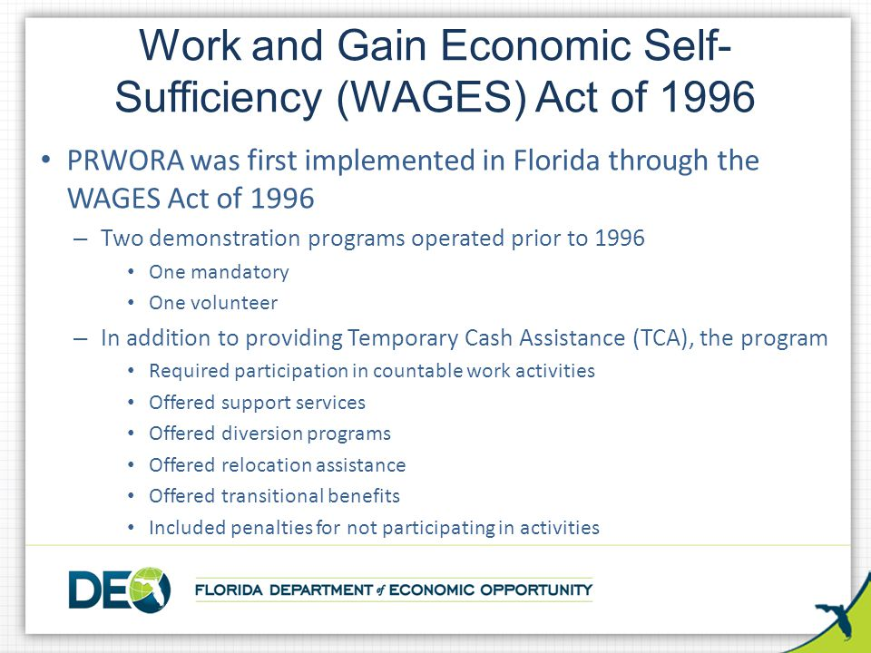 Work and Gain Economic Self-Sufficiency (WAGES) Act of 1996