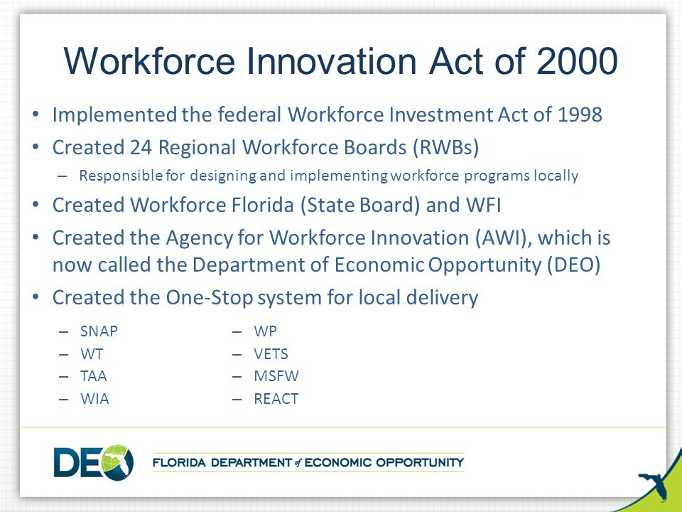 Workforce Innovation Act of 2000