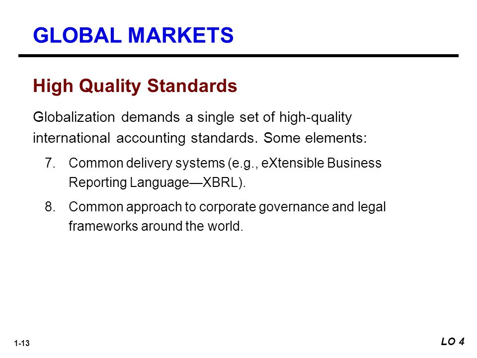 GLOBAL MARKETS High Quality Standards