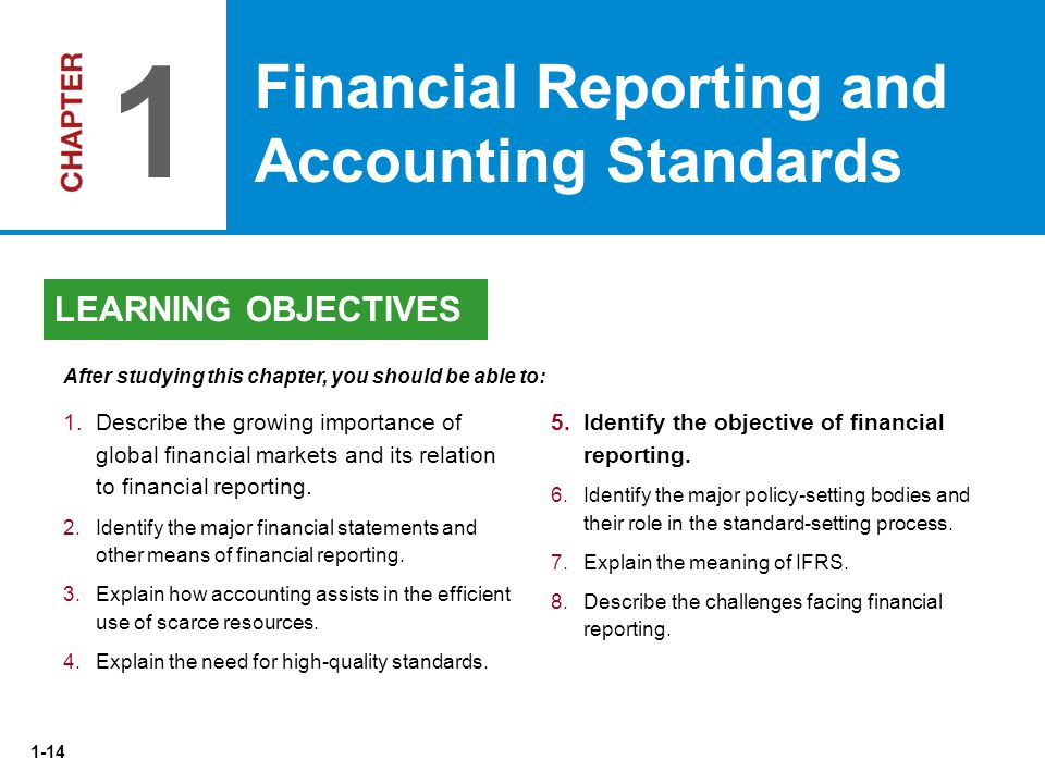 1 Financial Reporting and Accounting Standards LEARNING OBJECTIVES