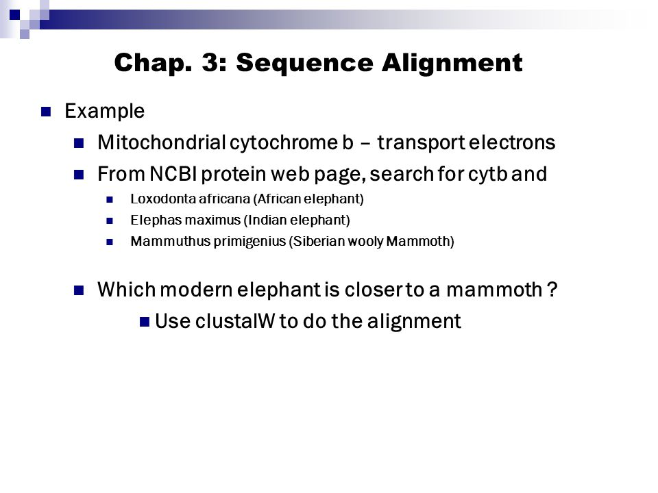 Chap. 3: Sequence Alignment
