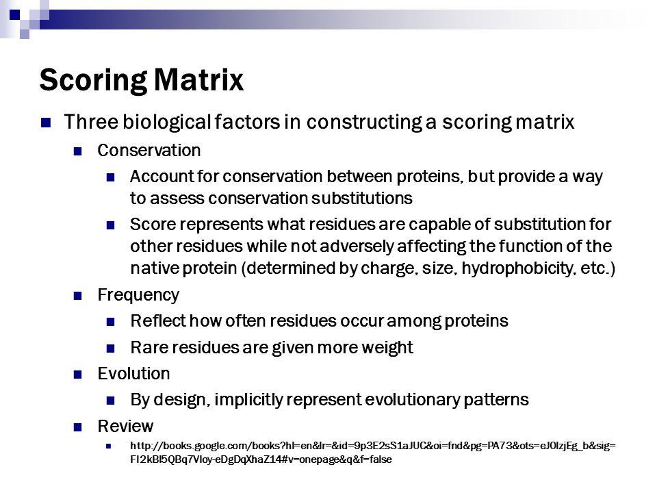 Scoring Matrix Three biological factors in constructing a scoring matrix. Conservation.
