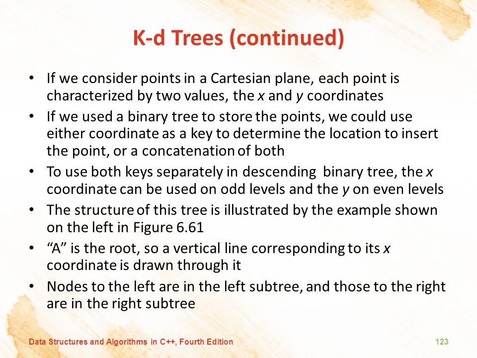 K-d Trees (continued) If we consider points in a Cartesian plane, each point is characterized by two values, the x and y coordinates.