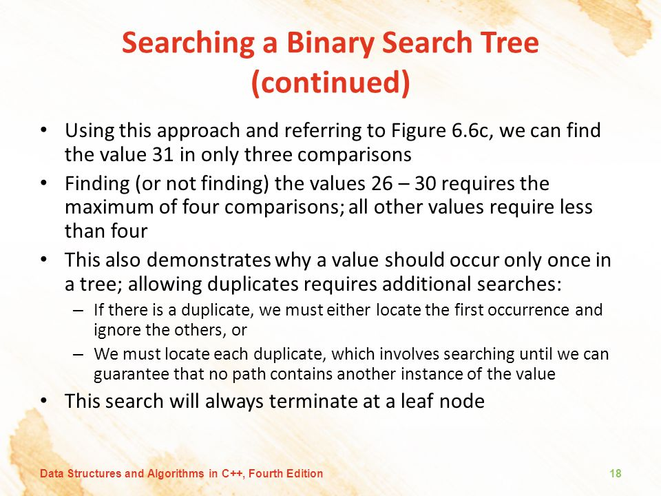 Searching a Binary Search Tree (continued)