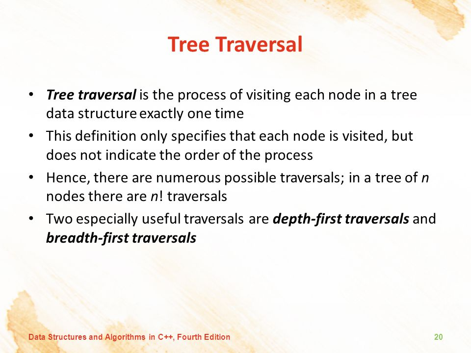 Tree Traversal Tree traversal is the process of visiting each node in a tree data structure exactly one time.