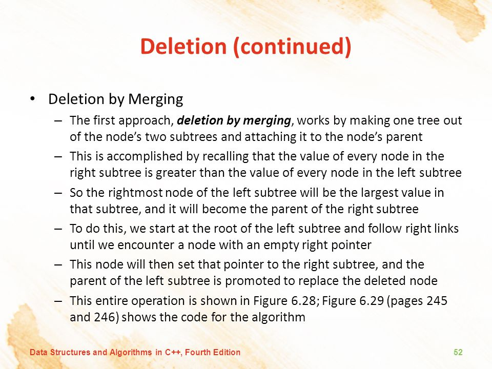 Deletion (continued) Deletion by Merging
