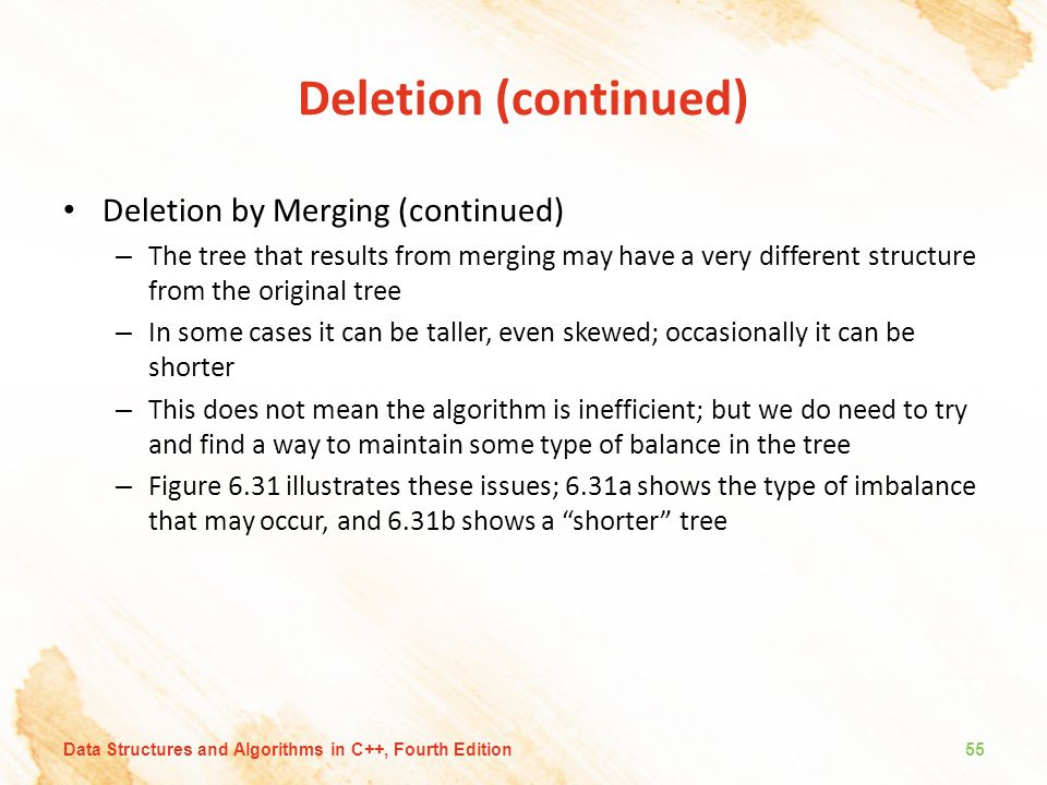 Deletion (continued) Deletion by Merging (continued)