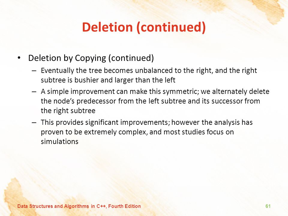 Deletion (continued) Deletion by Copying (continued)