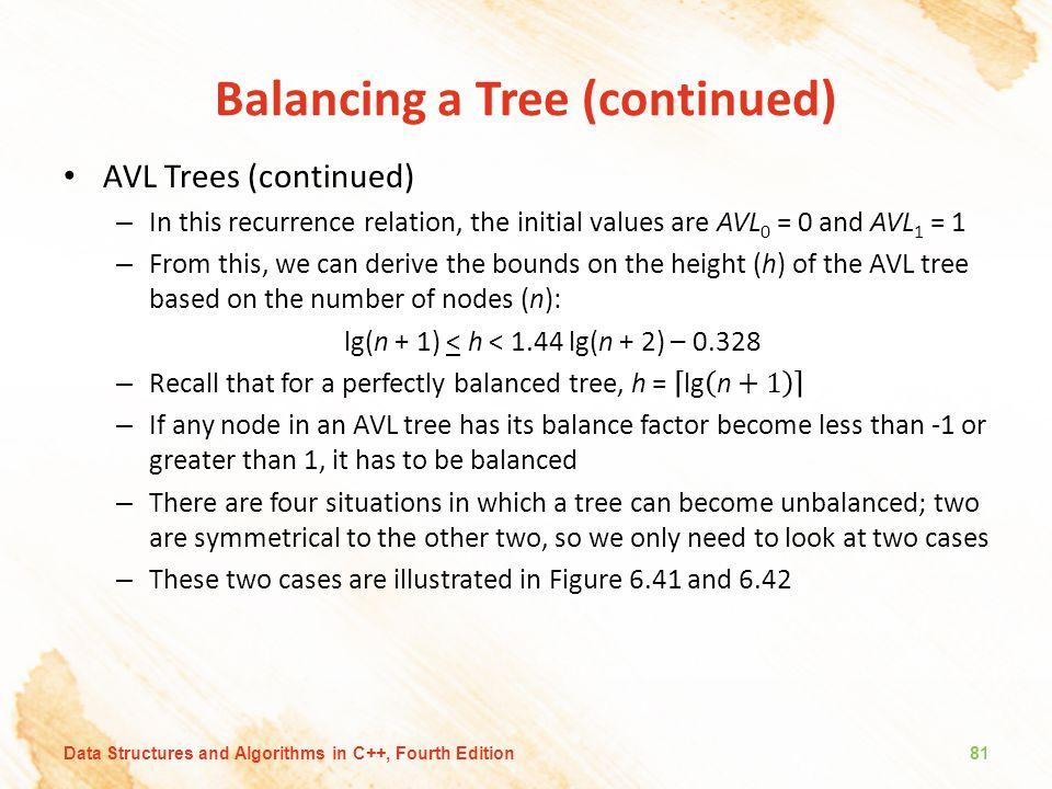 Balancing a Tree (continued)