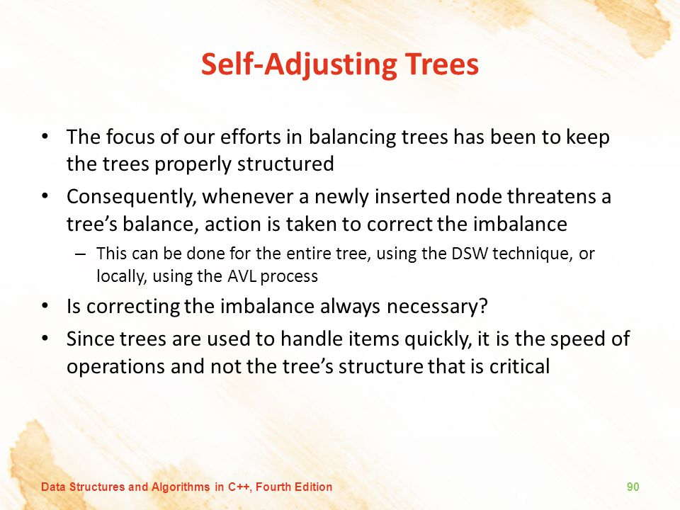 Self-Adjusting Trees The focus of our efforts in balancing trees has been to keep the trees properly structured.