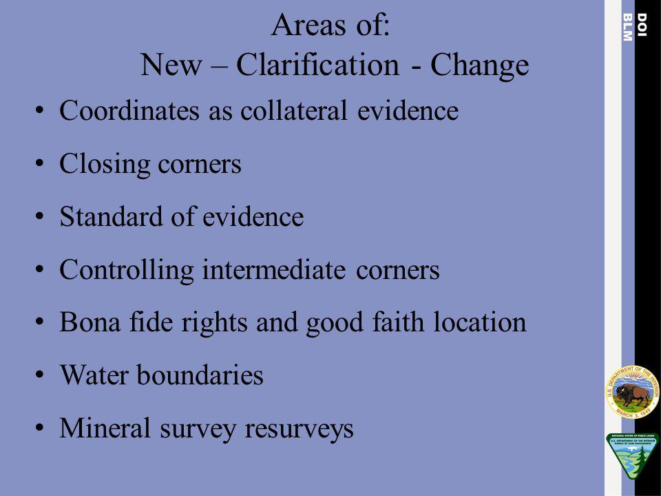New – Clarification - Change