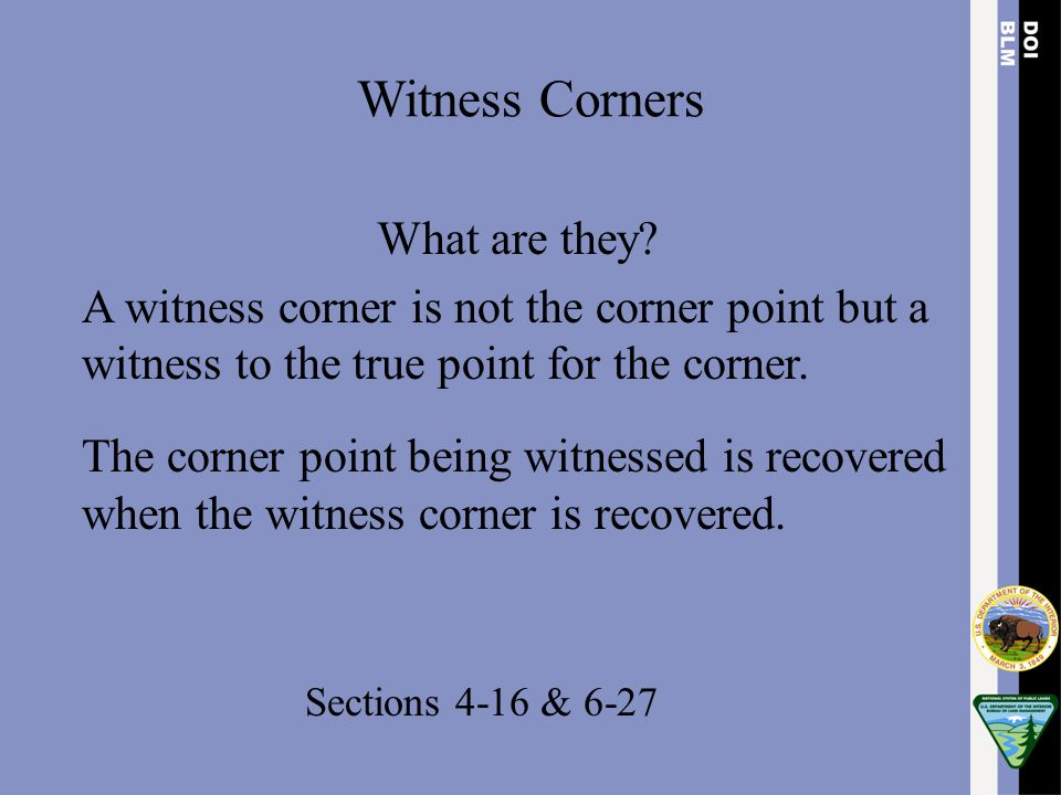 Witness Corners What are they