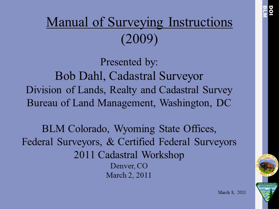 Manual of Surveying Instructions (2009)