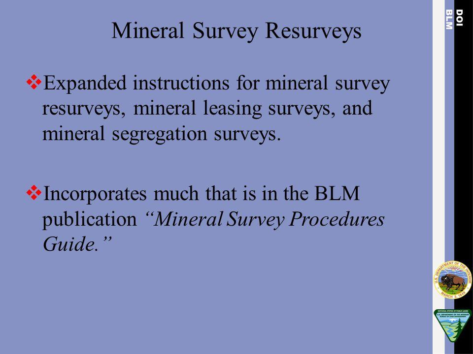Mineral Survey Resurveys