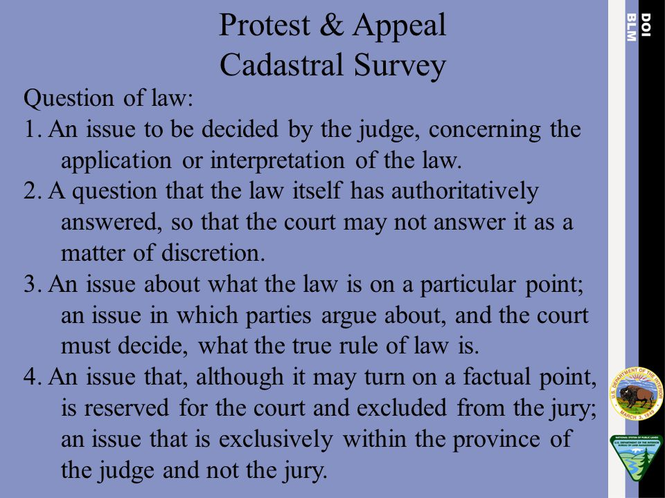Protest & Appeal Cadastral Survey Question of law: