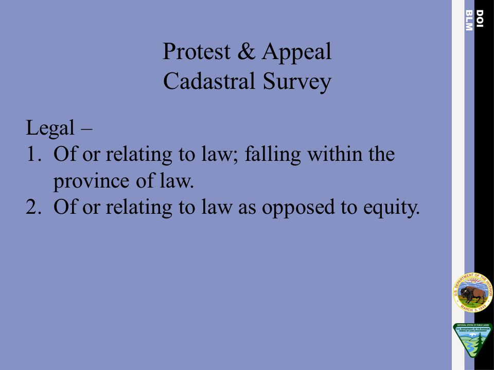 Protest & Appeal Cadastral Survey Legal –