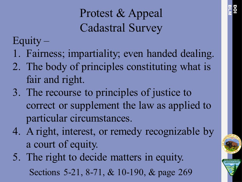 Protest & Appeal Cadastral Survey Equity –