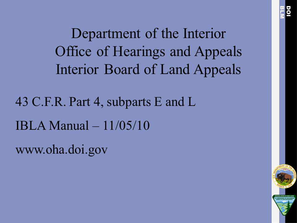 Department of the Interior Office of Hearings and Appeals