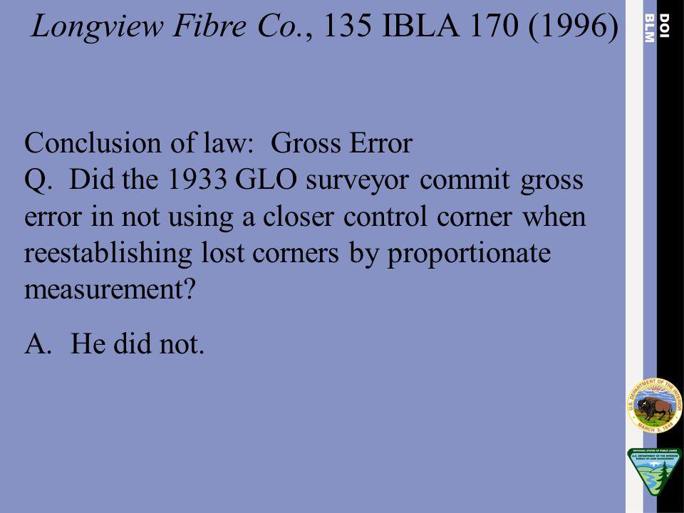 Longview Fibre Co., 135 IBLA 170 (1996)