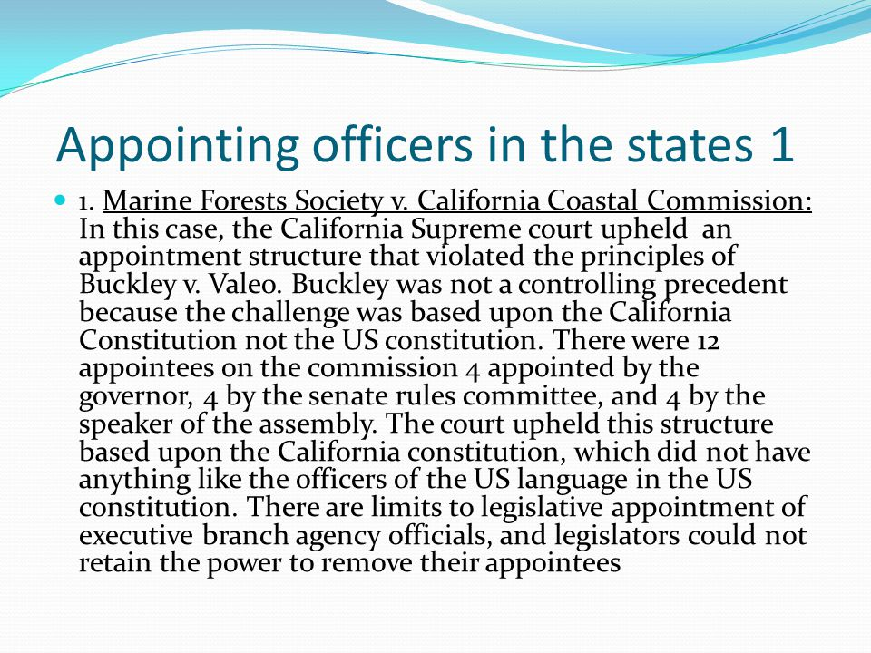 Appointing officers in the states 1