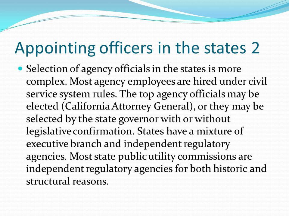 Appointing officers in the states 2