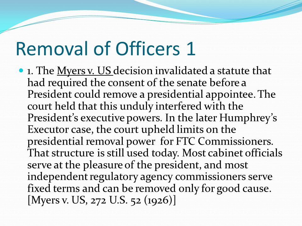 Removal of Officers 1