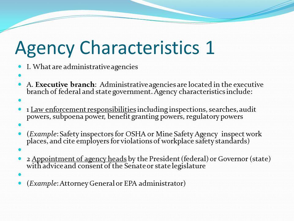 Agency Characteristics 1