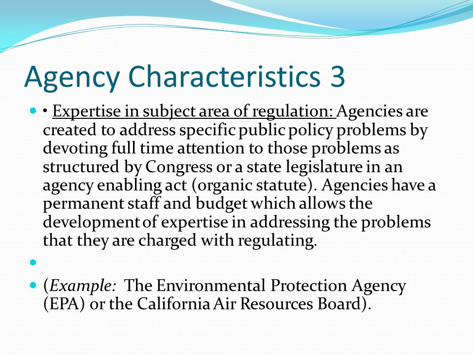 Agency Characteristics 3