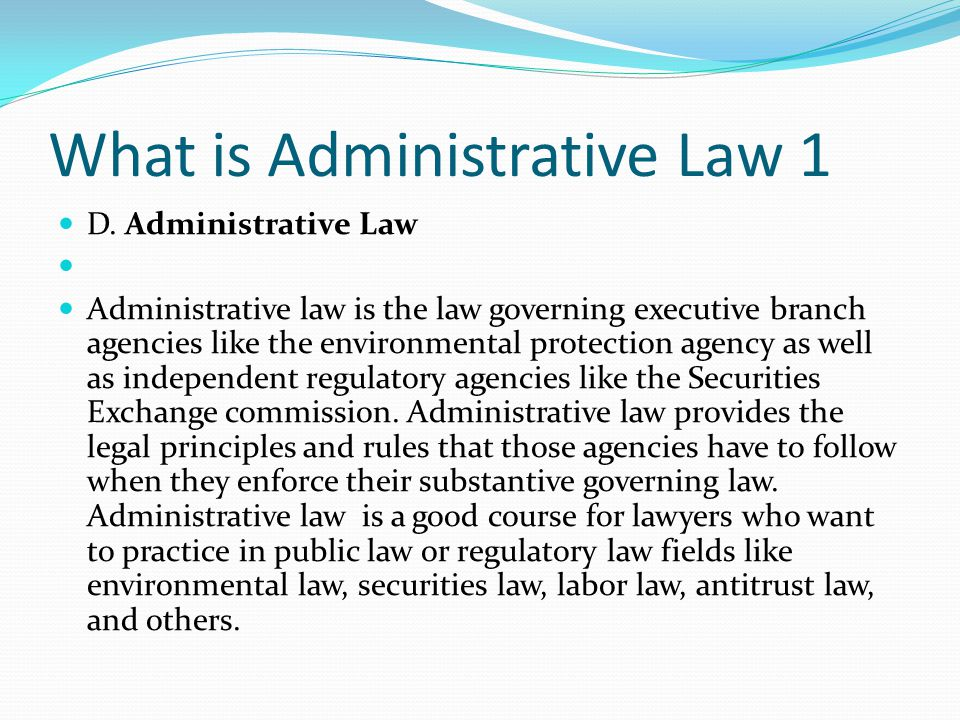 What is Administrative Law 1
