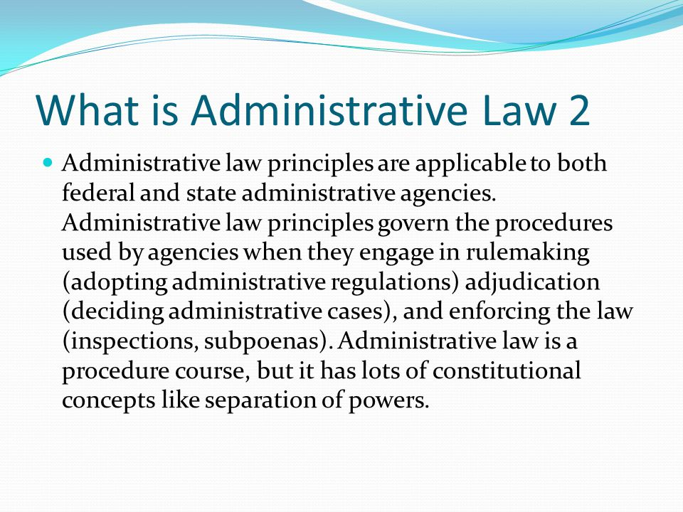 What is Administrative Law 2
