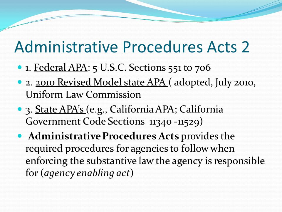 Administrative Procedures Acts 2