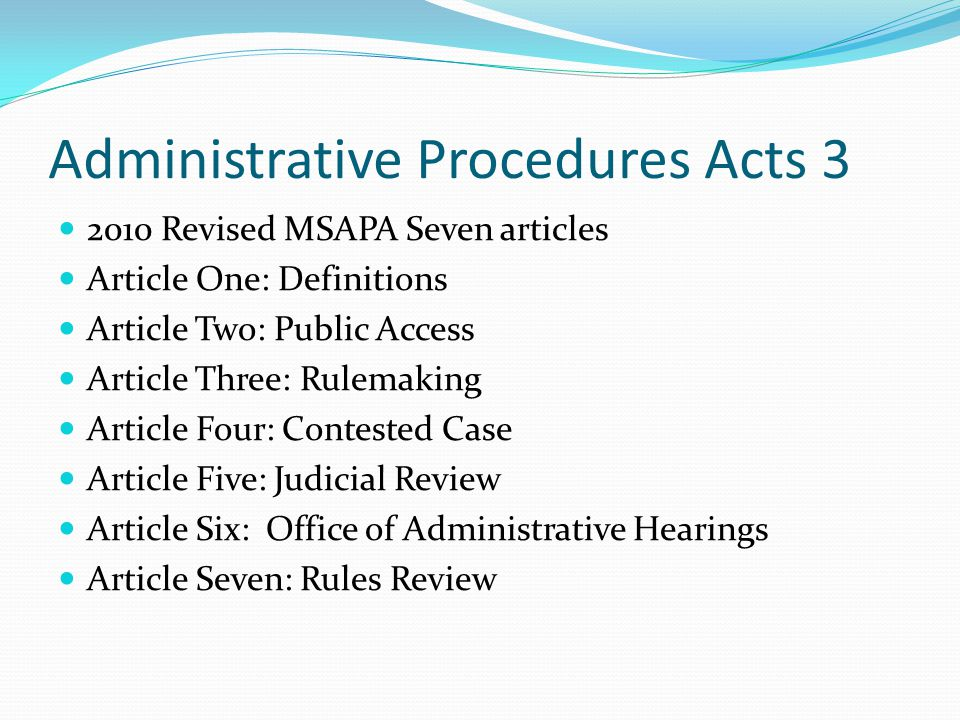 Administrative Procedures Acts 3
