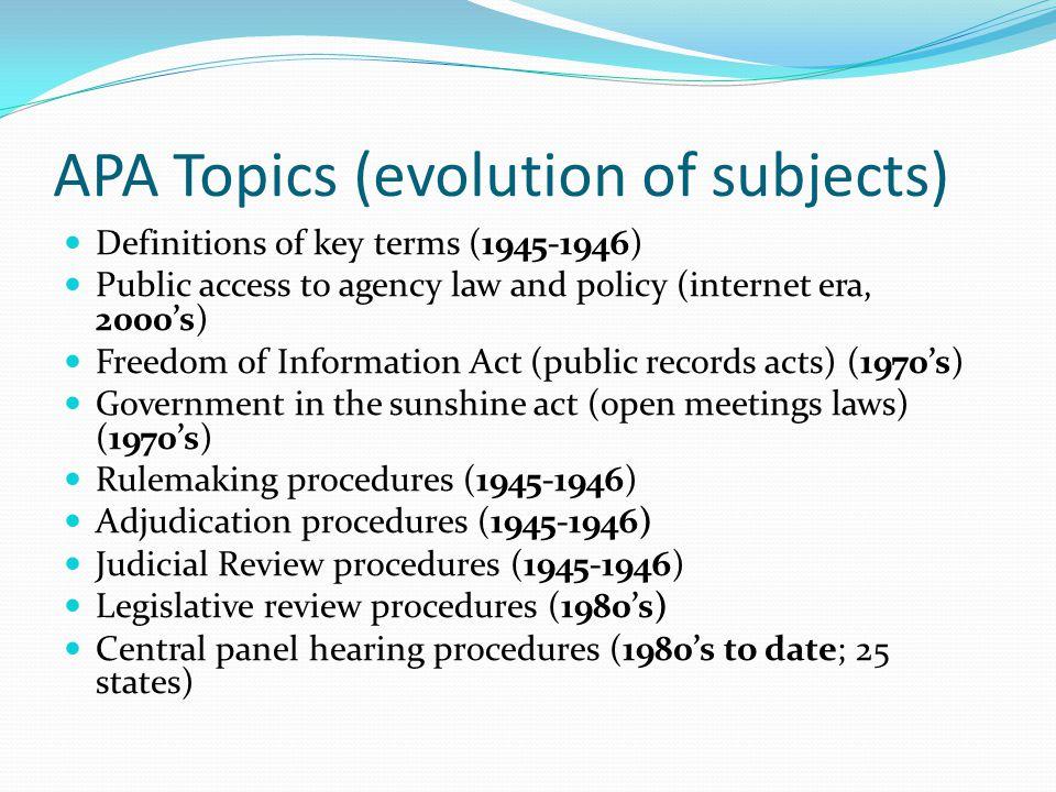 APA Topics (evolution of subjects)