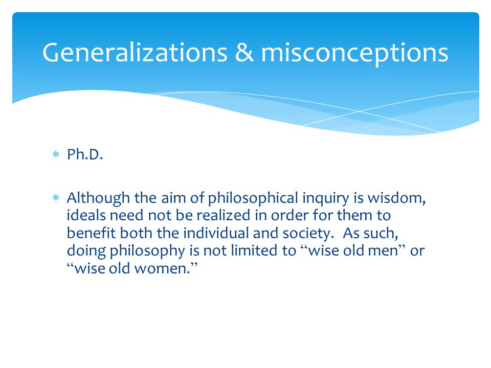 Generalizations & misconceptions
