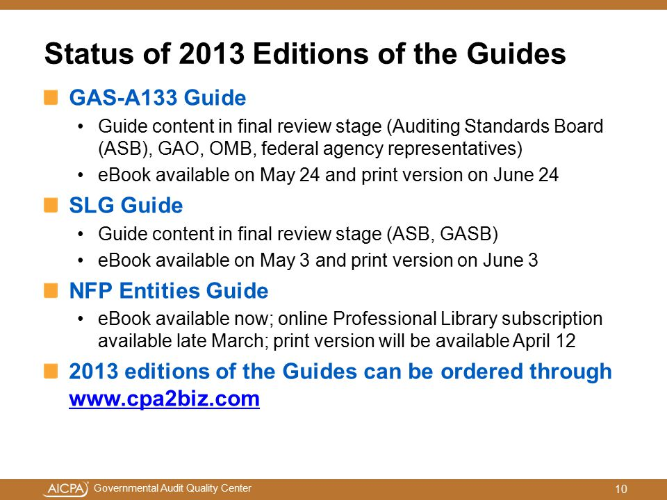 Status of 2013 Editions of the Guides