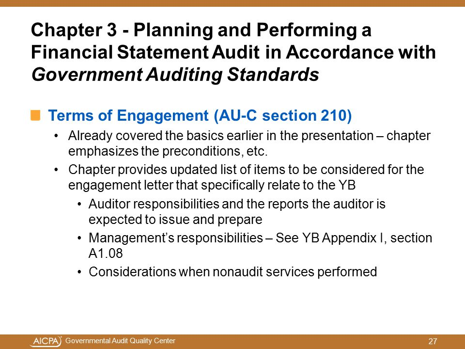 Chapter 3 - Planning and Performing a Financial Statement Audit in Accordance with Government Auditing Standards