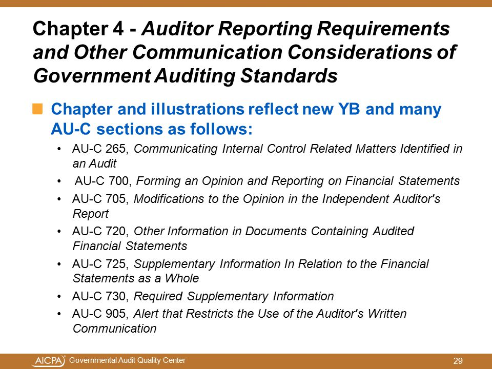 Chapter 4 - Auditor Reporting Requirements and Other Communication Considerations of Government Auditing Standards