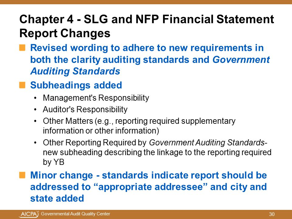 Chapter 4 - SLG and NFP Financial Statement Report Changes