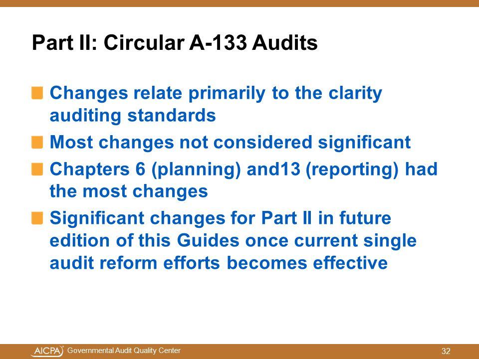 Part II: Circular A-133 Audits