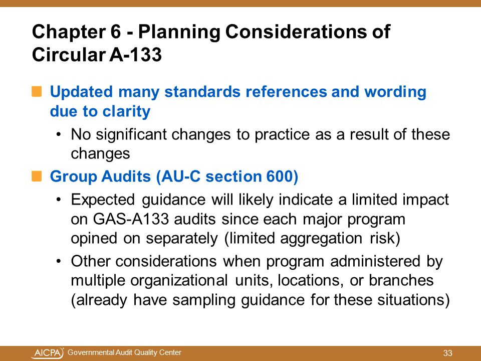 Chapter 6 - Planning Considerations of Circular A-133